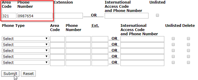 Area Code and Phone Number fields