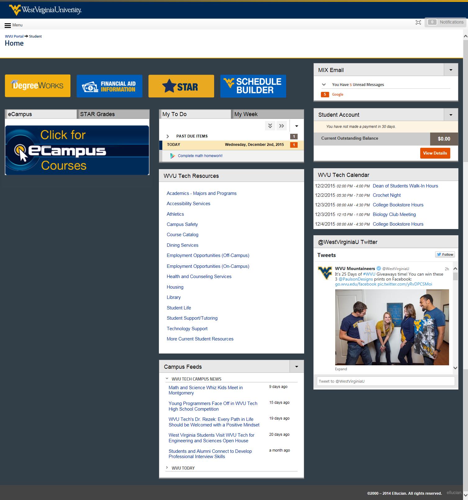 WVU Tech view of the student portal
