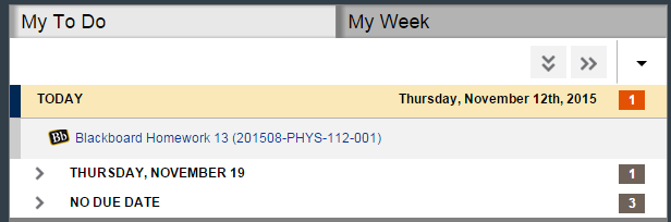 example of the my to do/my week tabbed sections