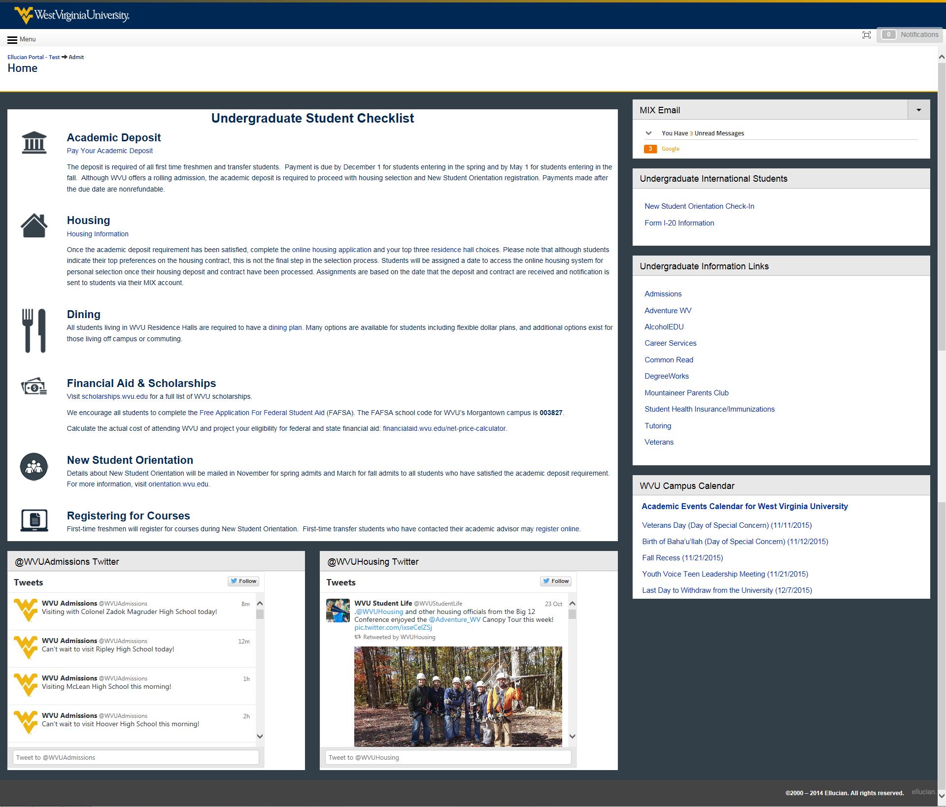 undergraduate view of the admit portal