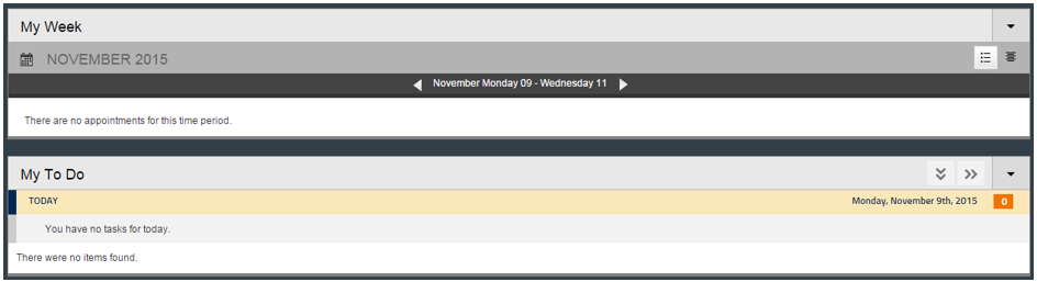 the my week and my to do web parts display calendar events and tasks from the user's MIX email or eCampus