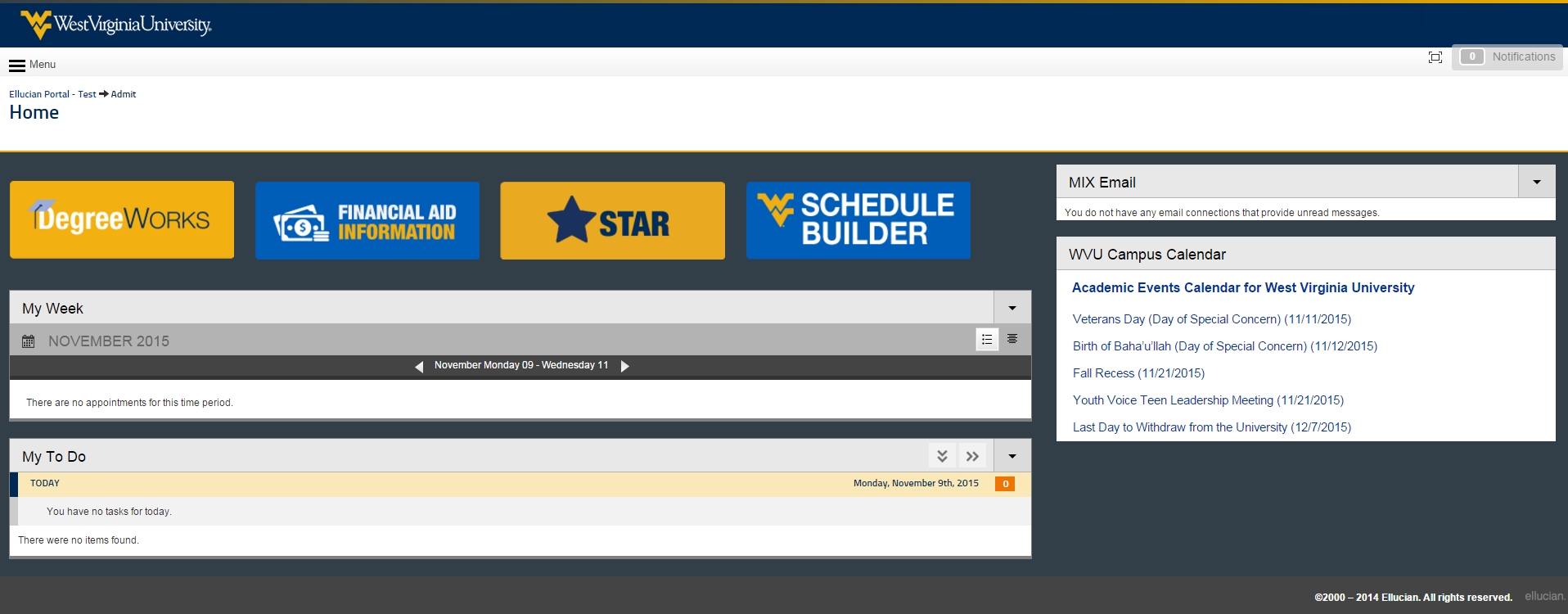 professional view of the admit portal