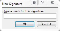 New Signature dialog