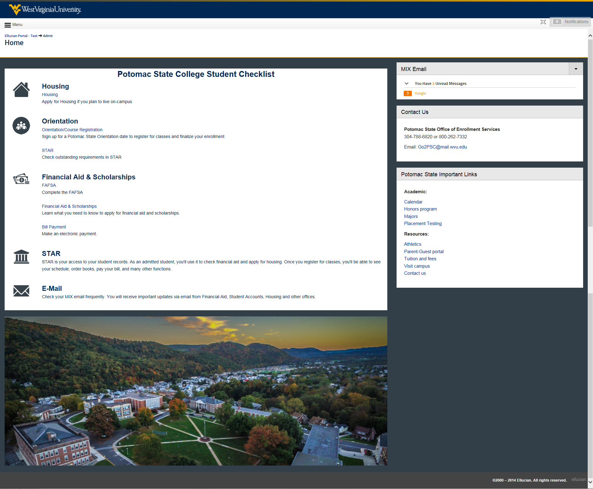 potomac state view of the admit portal