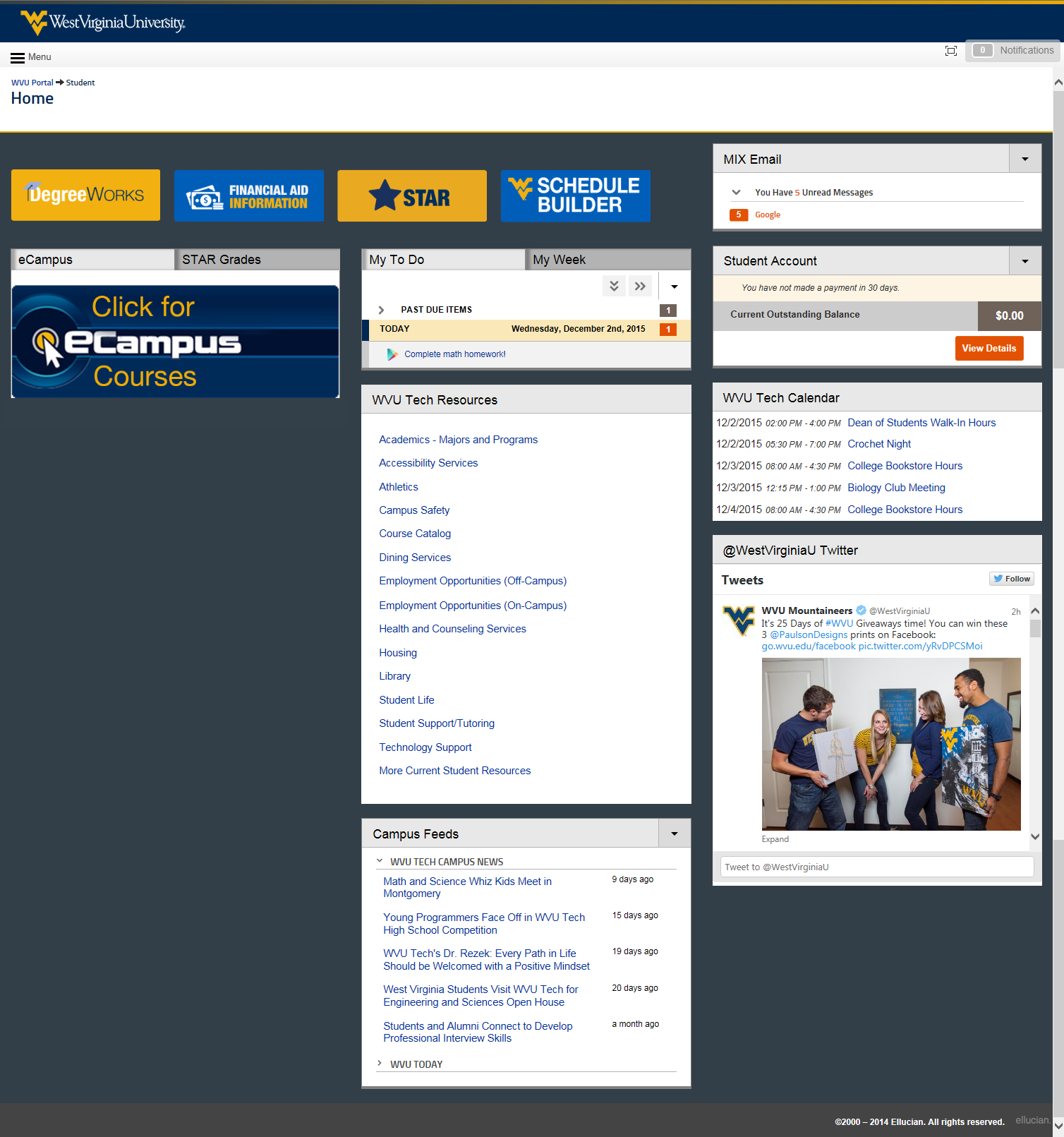 WVU Tech view of the student portal