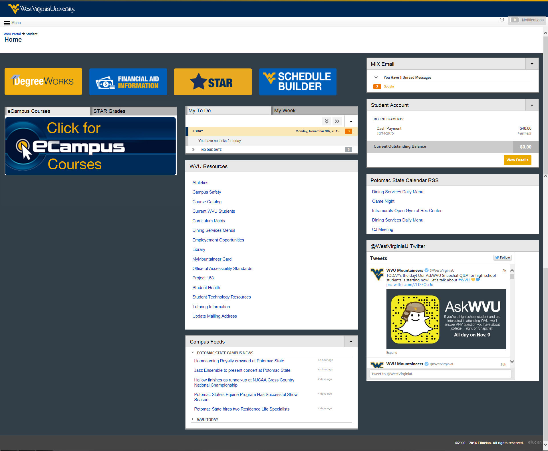 Potomac State College view of the student portal