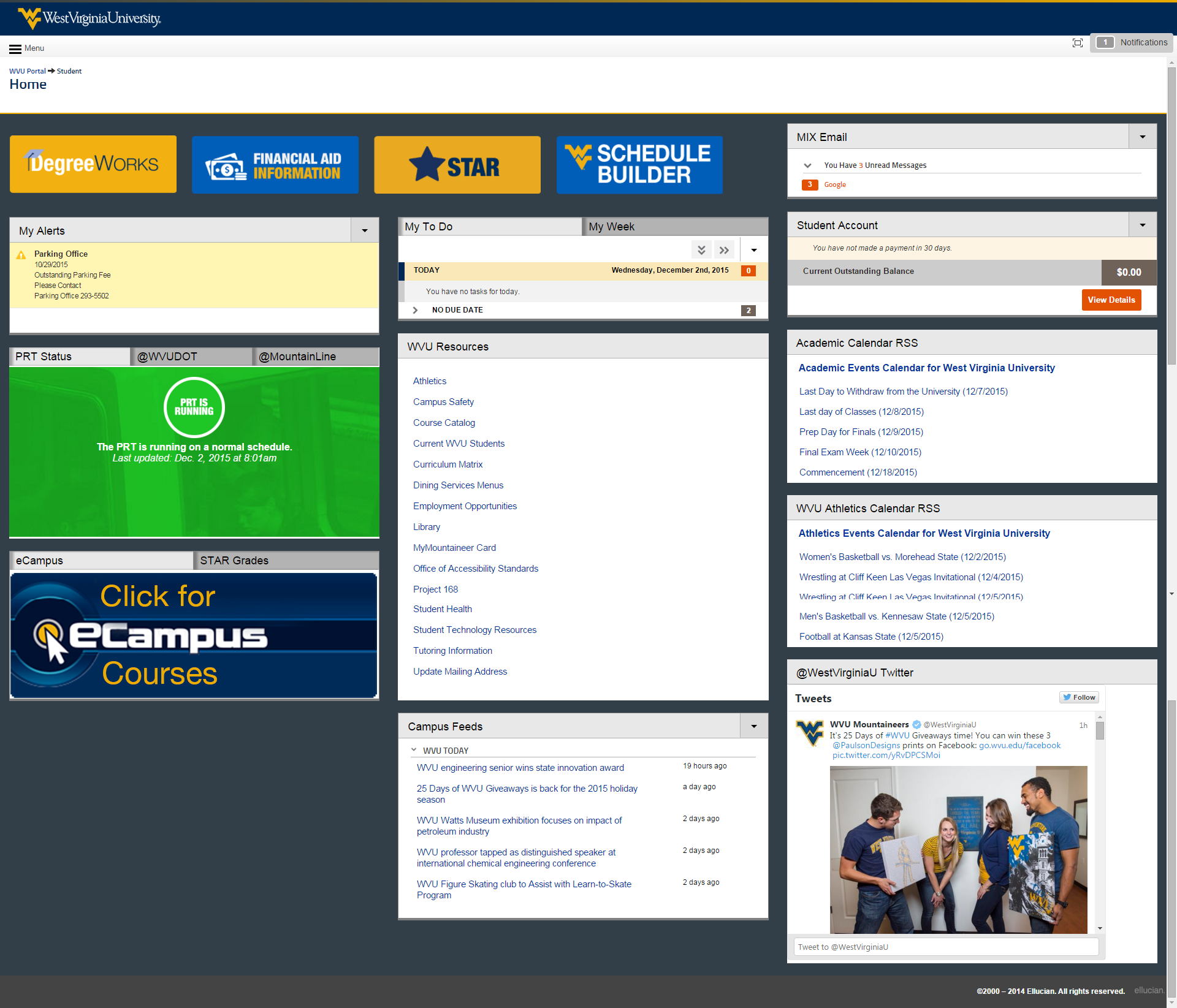 undergraduate, graduate, and professional view of the student portal